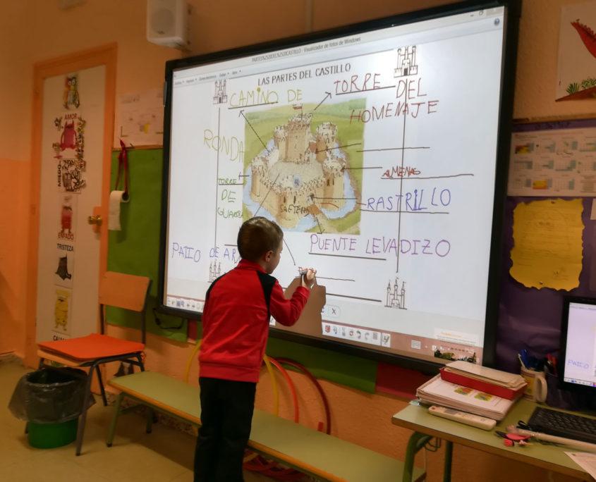 Pizarra digital en el colegio público Virgen del Cerro de Vallecas